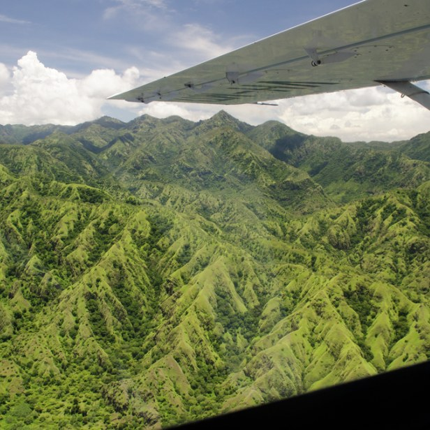 Timor-Leste scenery through aircraft window