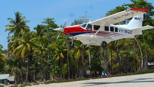MAF GA8 Airvan lands at the newly opened airstrip at Viqueque, TImor-Leste