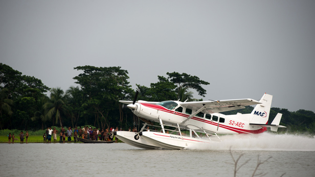 MAF float plane takes off from Bhola, Bangladesh.