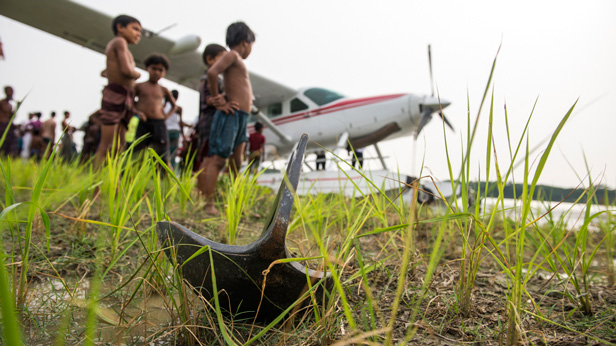 The anchor holds the plane near land in Bhola, Bangladesh.
