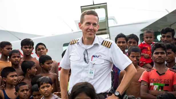 Pilot Chad Tilley, Bangladesh, with float plane.