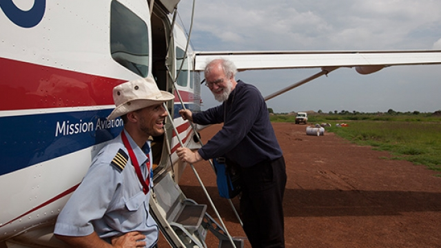 Flying Rowan Williams to promote peace in South Sudan